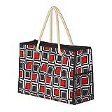 Bolsa de playa grande y bolsa de viaje para mujer – Bolsa de piscina con asas, bolsa de semana y bolsa de noche – Cuadrados modernos rojo, gris y negro