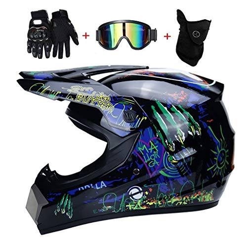 OUTLL Adulto Cara Completa Motocross Casco Set, con Guantes Gafas Máscara, Off Road Motocicleta MTB DH Enduro Cuesta Abajo Bici de La Suciedad ATV BMX Quad Moto Estrellarse Casco, Dot Certificación