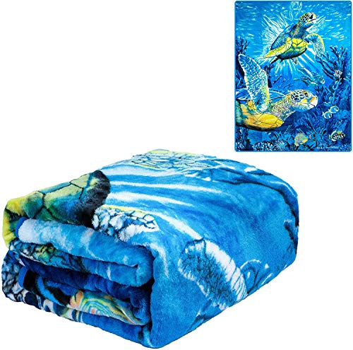K2 New Signature Collection Queen Size Sea Turtles Korean Mink Blanket