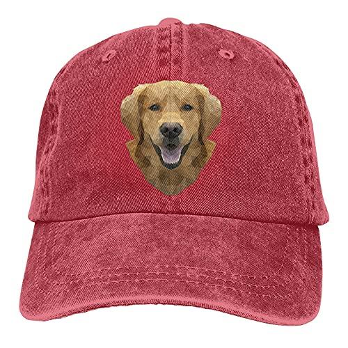 Dyfcnaiehrgrf Regalo para Golden Retriever Gorra de béisbol unisex lavable para correr sombrero para adulto rojo