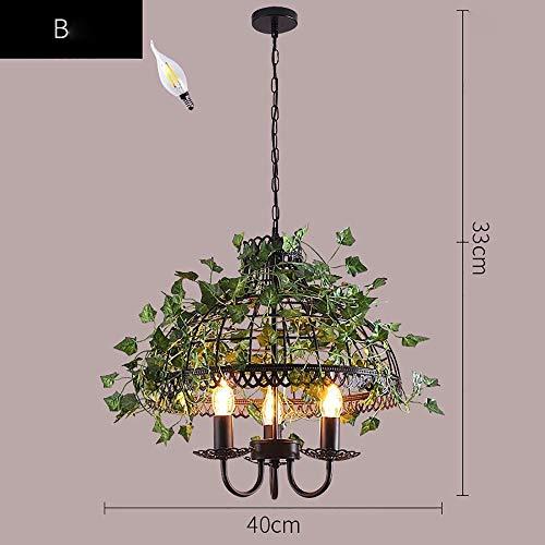 L.J.JZDY kroonluchter vintage industriële stijl bar ijzer creatieve LED walnoot plant vogelkooi kroonluchter hanglamp