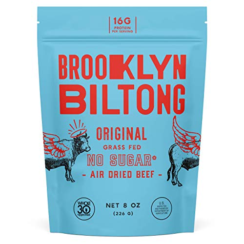 Brooklyn Biltong - Air Dried Grass Fed Beef Snack, South African Beef Jerky - Whole30 Approved, Paleo, Keto, Gluten Free, Sugar Free, Made in USA - 8 oz. Bag (Original)