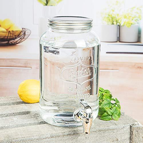 Praktischer Getränkespender mit Zapfhahn Wasserspender Glaskaraffe - Für Kalt- und Heißgetränke - Glas - Klar - 3 Liter