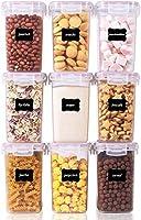 vtopmart 1.6l contenitori alimentari per cereali,pasta, senza bpa contenitori plastica con coperchio,set di 9 + 24 etichette (rosa)