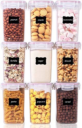 Vtopmart 1.6L Recipientes para Cereales Almacenamiento de Alimentos, Jarras de Almacenamiento de Plástico con Tapa Hermética Sin BPA,Juego de 9 + 24 Etiquetas, para harina,café (Rosado)