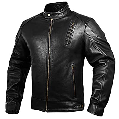 Mens Leather Motorcycle Jackets Black Moto Riding Motorbike Racing Cafe Racer Biker Jacket CE Armored (XL) by HWK