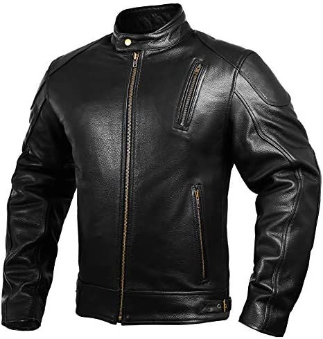 Mens Leather Motorcycle Jackets Black Moto Riding Motorbike Racing Cafe Racer Biker Jacket CE product image