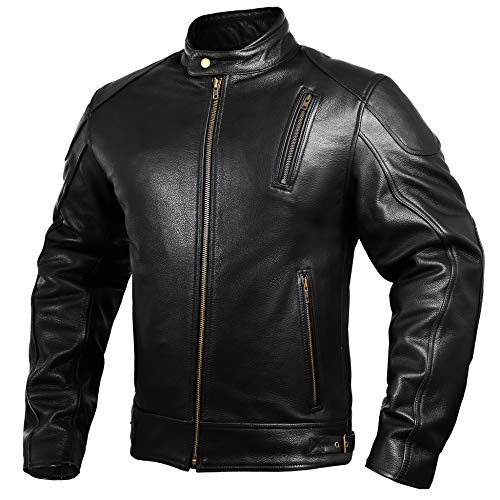 Mens Leather Motorcycle Jackets Black Moto Riding Motorbike Racing Cafe Racer Biker Jacket CE Armored (L)