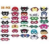 Superhero Masks, 35 Pieces Superhero Cosplay Masks for Birthday Party, Superhero Party Masks Children Masquerade Cosplay Eye Masks for Ages 3-Plus