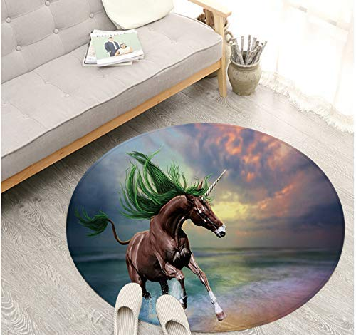 YuQiang Modern Personality Mat Fancy Animal Carpet Fashion Digital Print Carpet Bedroom Living Room Study Mat Foot Mat Unicorn Carpet Mat,80cm*80cm
