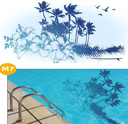 Design Skins Pool * Bodenmatte Swimmingpool * Dekoration Poolboden * M7 Palmen * 200 x 100 cm