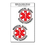 COOLHUBCAPS Medical Alert Blood Thinners Reflective Decals (2 Pack, Small)