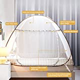 Digead Moskitonetz Bett , Faltbares Bett-Moskitonetz , Tragbares Reise-moskitonetz , Einzeltür-Moskito-Campingvorhang ,100 * 200 cm - Brauner Rand - 4