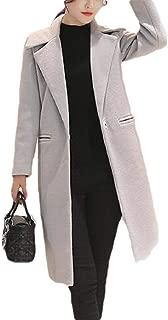 Women's Notch Lapel Overcoat Mid-Length Pure Color One Button Pea Coat