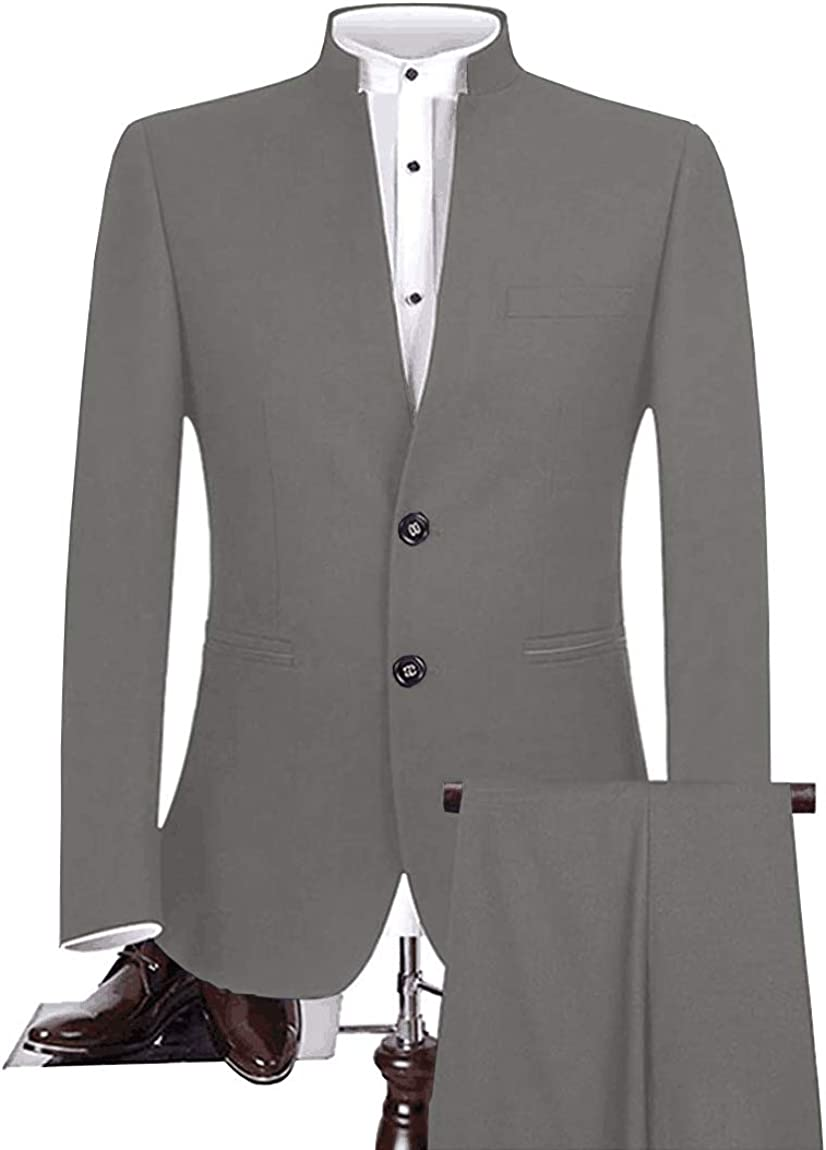 Mens Tailored Fit Chinese Tunic Suit 2 Pieces Slim Fit Formal Business Blazer Sets