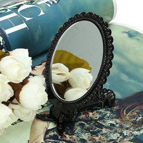 EgBert Mini Miroir De Maquillage Pliable Cosmetic Black Pocket Girl
