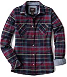 CQR Women's Plaid Flannel Shirt Long Sleeve, All-Cotton Soft Brushed Casual Button Down Shirts, Flannel Plaid(wof002) - Very Berry, Medium
