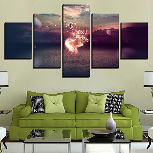 adgkitb canvas Fünf Stücke Abstrakte Poster Nacht Hintergrund Wanddekor Bild Tier Elch Landschaft Hause Wandmalerei Rahmen