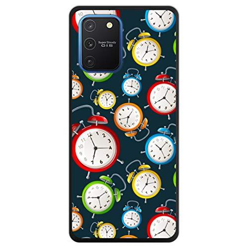 Telefoonhoesje voor [ Samsung Galaxy S10 Lite ] tekening [ Wekker op een donkere ochtend ] Zwart TPU flexibele siliconen schaal