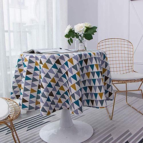 Tovaglia rotonda 150 cm, in cotone e lino, tovaglia in siero semplice, stile nordico, anti-macchia,...