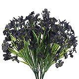 XHXSTORE 4 Piezas Flores Artificiales de Seda Flores de Orquídea Planta Helecho Negro Arbusto Falso Verde para Maceta de Jarrón Mesa Jardín Balcón