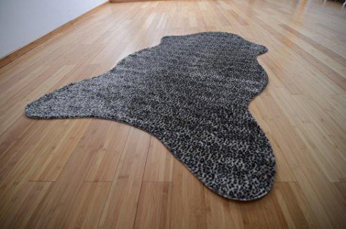Fabelia Tierfell-Teppich Ameiny - Wildtiere Kunstfell - als Teppich, Sofa-Auflage, für Kostüme und Karnevalsmaterial (75 cm x 125 cm Tierform, Schneeleopard)