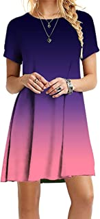 OMZIN - Vestido de mujer de manga corta, informal, de corte redondo, en tallas grandes, de 2XS a 5XL Jb-violeta. XL