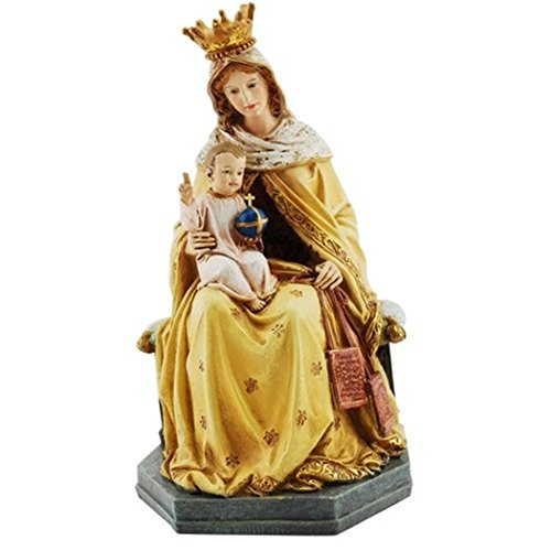 Roman Our Lady of Mt. Carmel with Child 8 Inch Resin Stone Tabletop Statue Figurine