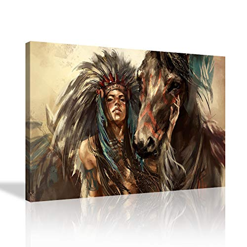KALAWA Native American Girl Wall Art Feathered Headdress Women with Horse Painting Modern Home Wall Decor Indian Girl Artwork Print Canvas Retro Picture Framed Ready to Hang(16''W x 24''H)