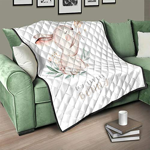 AXGM Colcha con diseño de conejo de Pascua con texto en alemán 'Frohe Ostern', manta para el salón y sillón digital 3D, color blanco, 230 x 280 cm