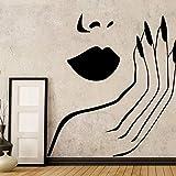 Etiqueta de la pared Sexy Lady Salon Girl Blush Lips Decoración de la pared Sala de estar Chica Dormitorio Decoración Etiqueta de la pared 58X58Cm