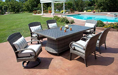 Pacific Casual Captiva Isle Modern Patio Dining Set with Swivel Dining Chairs & 85-inch Aluminum Dining Table