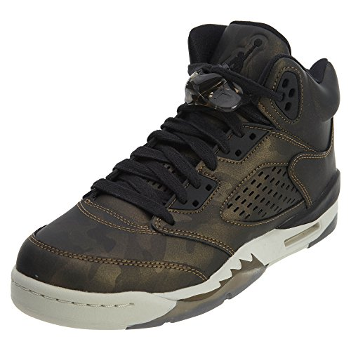 Jordan Nike Air 5 Retro PREM HC Big Kid's Basketball Shoes Black/Light Bone, 9.5