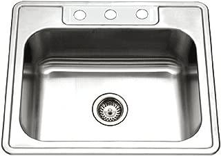 Houzer 2522-8BS3-1 Glowtone Series Topmount Stainless Steel 3-hole Single Bowl Kitchen Sink, 8-Inch Deep (Renewed)