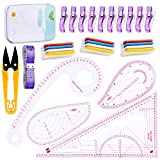 Sewing Ruler 4 Styles Clothing Patterning Ruler Sewing French Curve Ruler Metric Shaped Plastic Sewing Tools Include Fabric Chalk Sewing Clips Perfect for Designers, Pattern Maker, Sewing Templates