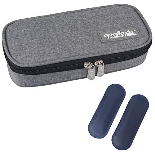 DCCN Insulin Kühltasche Diabetiker Tasche für Medikamente Thermotasche aus Oxford-Stoff und Alufolien (S Grau + 2 Kühlakkus)