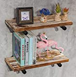 Industrial Retro Wall Mount Pipe Floating Shelf, DIY Open Bookshelf, Hung Bracket, Home Kitchen Office Tool Utility Shelves/Bookshelves/Bookcases (Set of 4 Single Shelf Brackets)