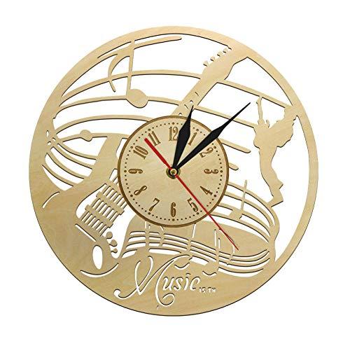 Notas Musicales Guitarrista Reloj De Pared De Madera Instrumento De Guitarra Reloj De Tiempo Musical Dreamer Room Reloj Decorativo De Arte De Pared