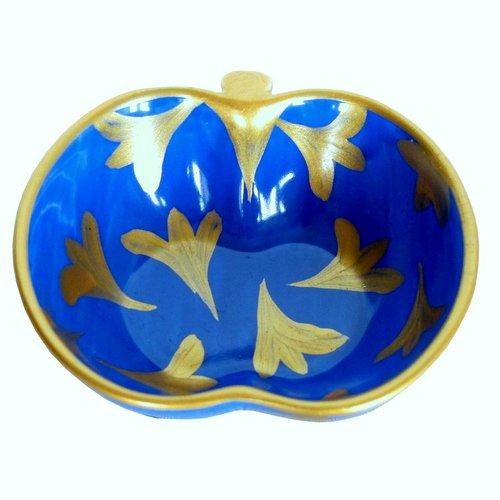 'Lapiz Tulipe' – A Bleu et or peinte à la main en porcelaine anglaise Apple Bol dans une luxueuse boîte cadeau pour un cadeau ou sophistiqué pour anniversaire de mariage ou pour la décoration de mariage, Coiffeuse, DE SALLE DE BAIN ou de cuisine