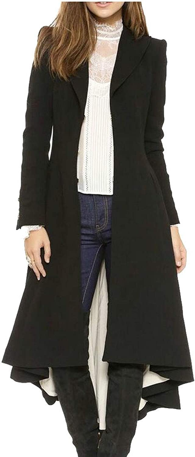 Sweatwater Womens WoolBlended Notched Lapel Stylish Long High Low Trench Pea Coat