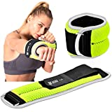 Bona Fitness Adjustable Ankle Weights with Reflective Trim/2-5lbs (1 Pair) Durable Ankle Weights Set with Strap/Best for Walking, Jogging, Gymnastics Arm Leg Weights (Green 2lb Pair)
