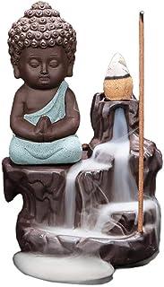 Backflow Incense Burner Holder Little Buddha Waterfall Incense Sticks Holder Handmade Ceramic Incense Burner Home Decor wi...