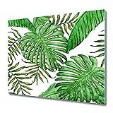 Tulup Tabla de Cortar 60x52cm Cocina Vidrio Templado Cubrir Protección de Inducción Placa Protector - foglie tropicali