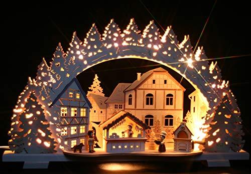 3D-Räucher-Schwibbogen Weihnachtsbäckerei Exclusiv- Handarbeit aus dem Erzgebirge - Lichterbogen für Weihnachten