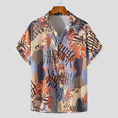 PPJIU Hawajska koszula plażowa, codzienna klapa zapinana bluzka z guzikami klasyczna prosta kwiat liście wzór luźny oddychający hawajski styl vintage Aloha krótki rękaw dla mężczyzn kobiet na plażę wakacje, XL