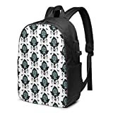 CHENWE Flight of The Reaper Moth Trendy Travel USB Backpack,17 Inch Computer Business Backpacks Student Backpack Casual Hiking Daypack