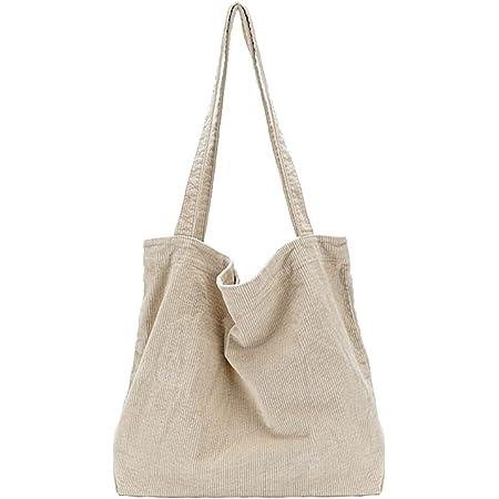 Ulisty Damen Grosse Kapazität Cord Schultertasche Retro Handtasche Mode Einkaufstasche Tägliche Tasche Khaki