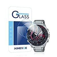 【3枚入り】 Mihence Casio ECB-900 保護フィルム, 9H ガラス保護フィルム 対応 カシオ ECB-900TR-2AJR / ECB-900YDB-1AJF / ECB-900YDB-1BJF Smartwatchスマート腕時計 2.5Dラウンドエッジ ウォッチ指紋防止保護膜