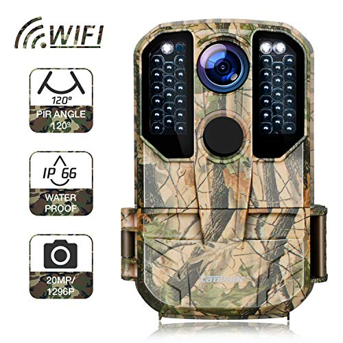 Campark WiFi Wildlife Camera 20MP 1296P Trail Hunting Game Camera with Night Vision Motion Activated for Outdoor Wildlife Monitoring Waterproof IP66 Remote Control Scouting Cam