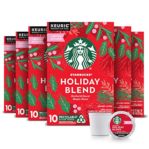 Starbucks Holiday Blend Medium Roast Coffee Single-Cup Coffee for Keurig Brewers, 6 Boxes of 10 (60 Total K-Cup Pods) | Herbal & Sweet Maple Notes